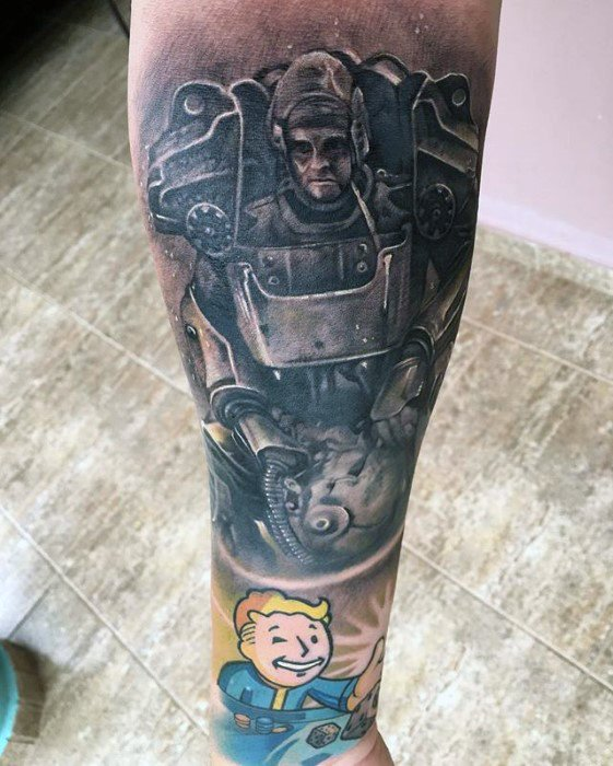 Passionate Fallout Tattoo On leg for Famous person