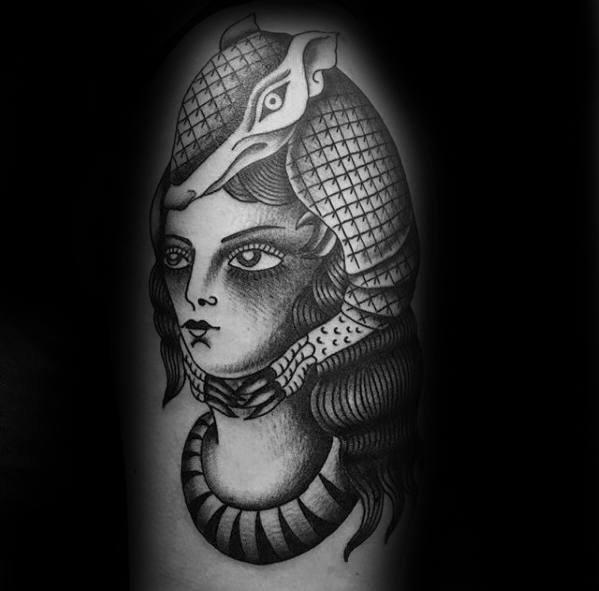 Perfect Armadillo Tattoo On Shoulder For Women