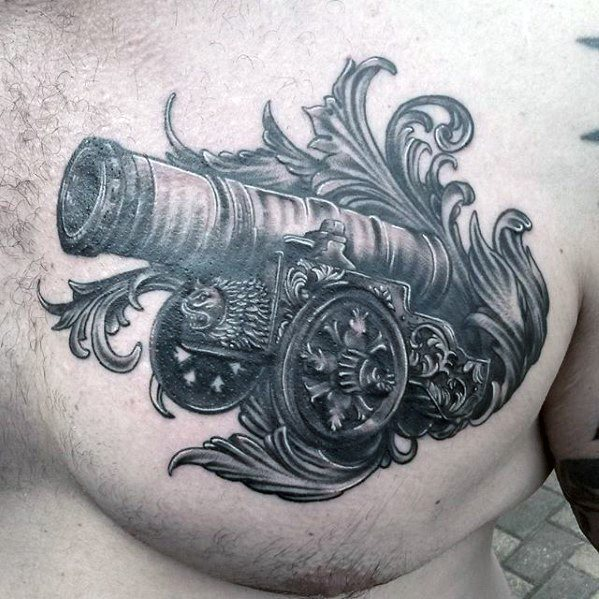 Perfect Cannon Tattoo On Chest for Tattoo fans