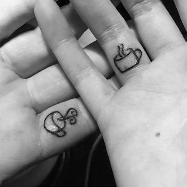 Perfect Coffee Cup Tattoo On Fingers For Women