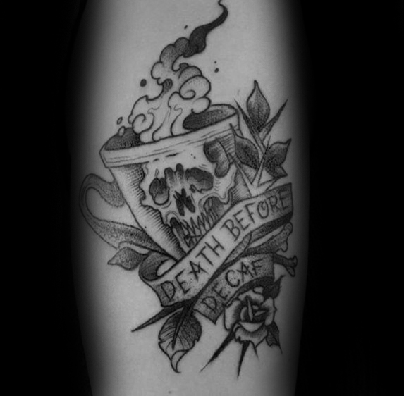 Perfect Coffee Tattoo On Back Of leg