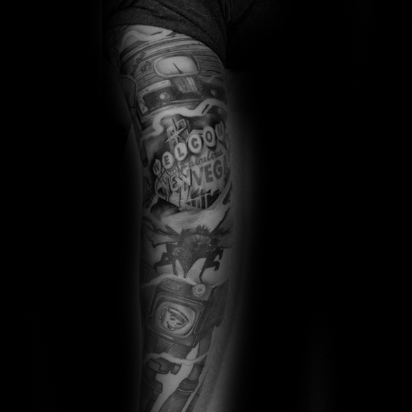 Realistic Fallout Tattoo On arm for boy