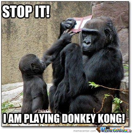 Stop it i am playing donkey kong Donkey Meme