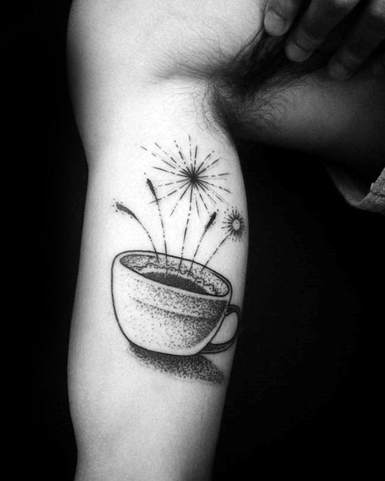 Stunning Coffee Cup Tattoo On Arm for Boy