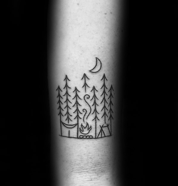 Sweet Camping Tattoos On Arm for women