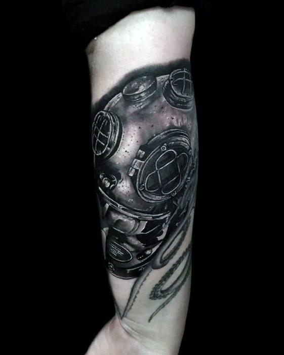 Sweet Diving Helmet Tattoo On Arm for Womens