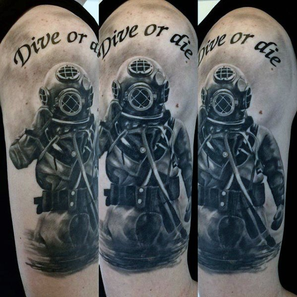 Traditional Diver Tattoo On Shoulder For Guys