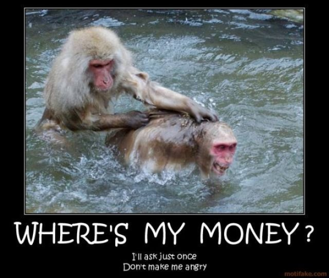 Where 's my money ill ask just once Monkey Meme