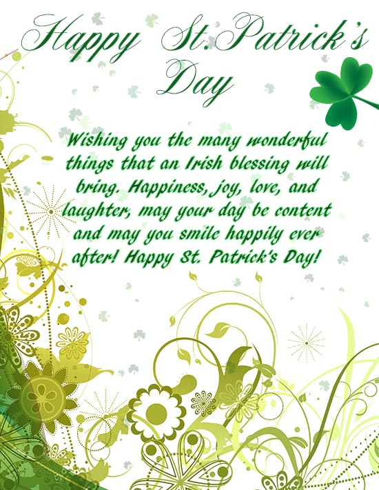 Wishing You The Many Wonderful Things An Irish Blessing Will Bring St. Patrick's Day