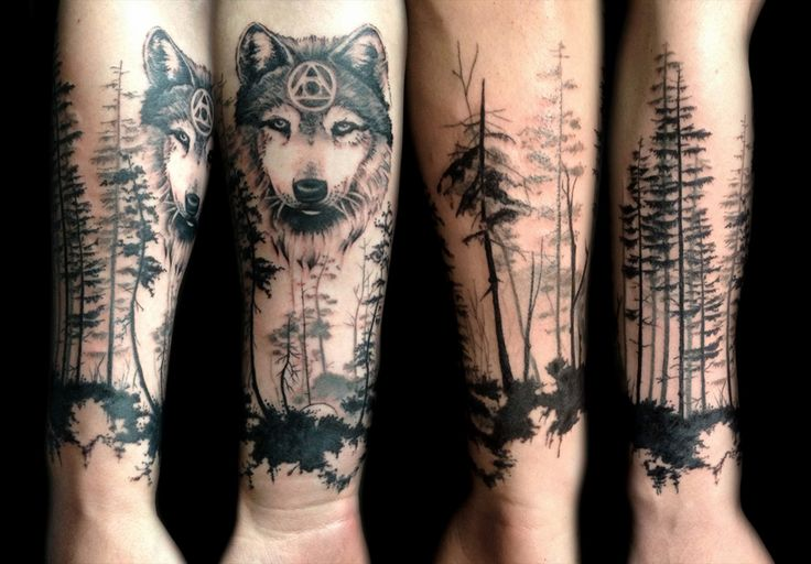 Attractive Forest Tattoos On arm for girl