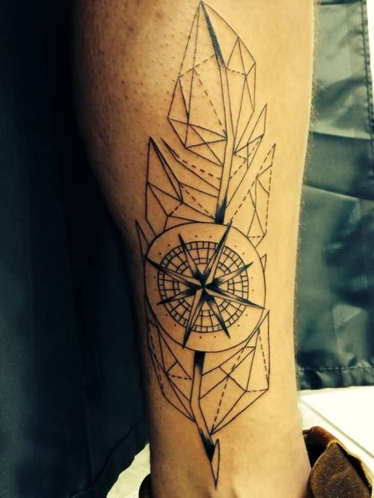 Attractive Geometric Feather Tattoo for men's arm