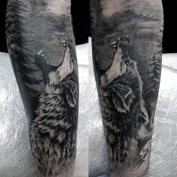 Beautiful Forest Tattoos On leg for men