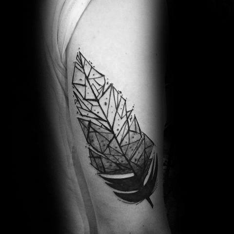Brilliant Geometric Feather Tattoo On rib for girl
