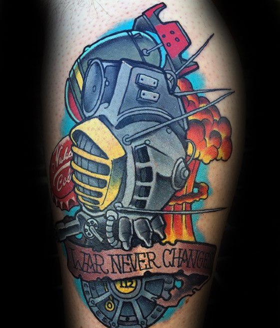 Cool Fallout Tattoos On leg for Tattoo fan