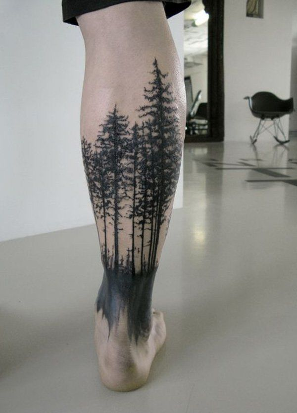 Coolest Forest Tattoos On leg for guy