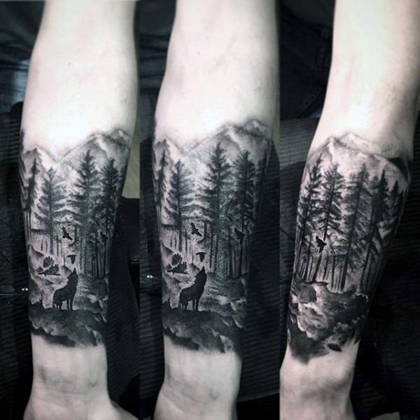 Crazy Forest Tattoos On leg for guy