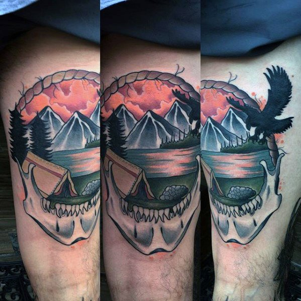 Creative Camping Tattoos On leg for Boys