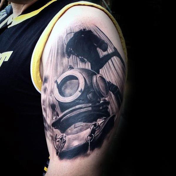 Custom Diving Helmet Tattoos On shoulder for boy
