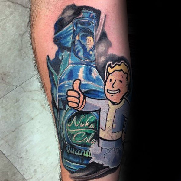 Custom Fallout Tattoos On leg for guy