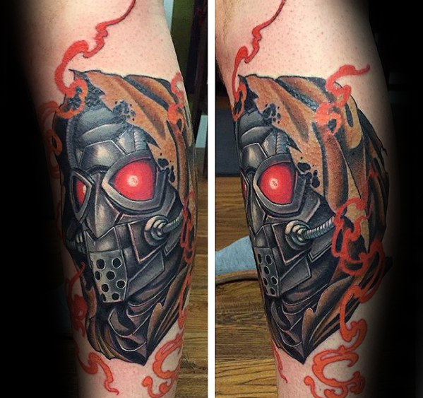 Cute Fallout Tattoos On leg for guy