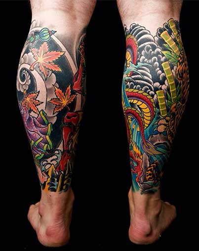 Dreamcatcher Calf Tattoo On leg for men