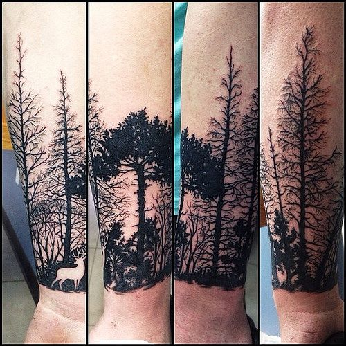 Elegant Forest Tattoos On arm for girl