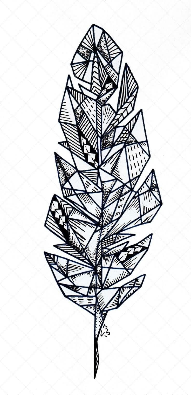 Fabulous Geometric Feather Tattoo for girl