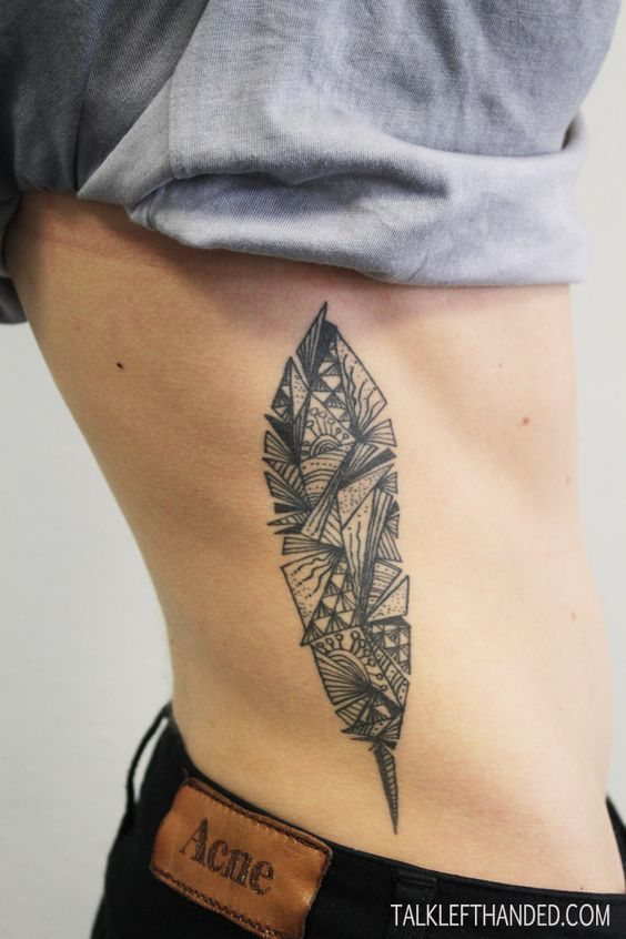 Latest Geometric Feather Tattoo On rib side for boy