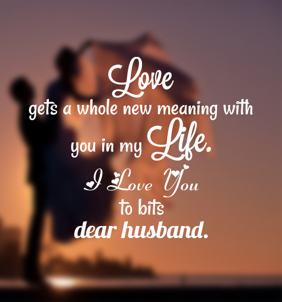 Love Quotes For Husband love gets a whole new meaning with you in my life