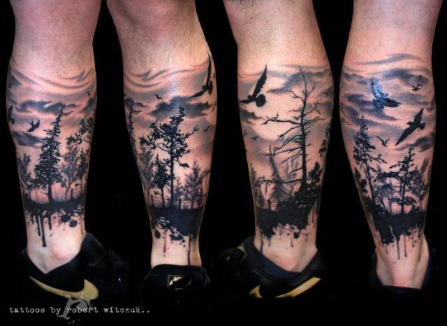 Lovely Forest Tattoos On leg for men