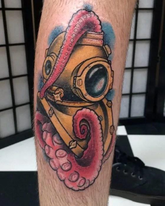 Marvelous Diving Helmet Tattoos For men's leg