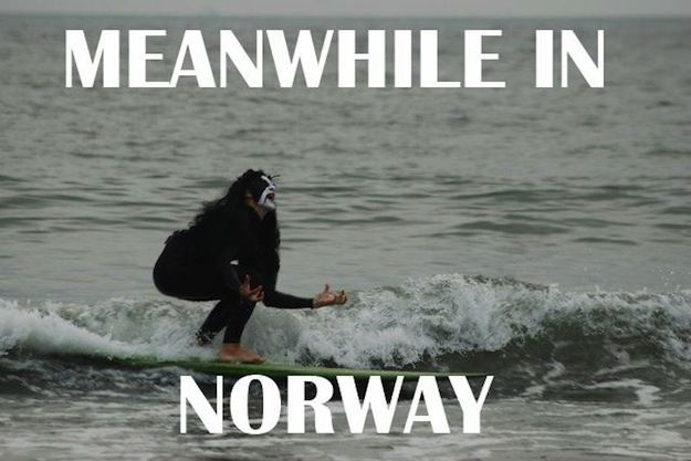 Meanwhile in norway Surfing Meme