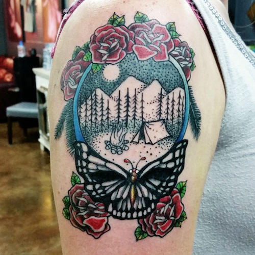 Most beautiful Camping Tattoos On Shoulder For Women