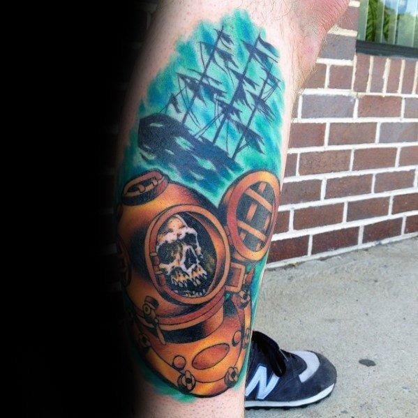 New Diving Helmet Tattoos On leg for guy