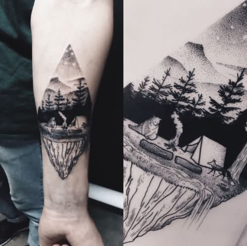 Passionate Camping Tattoos On Arm for mens