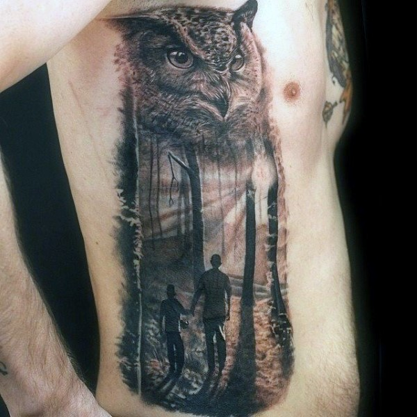 Passionate Forest Tattoos On rib side for men