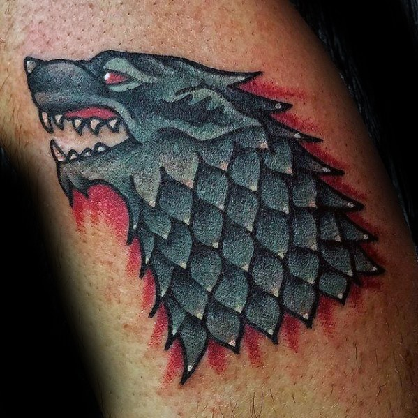 Passionate Game Of Thrones Tattoos On leg for guy