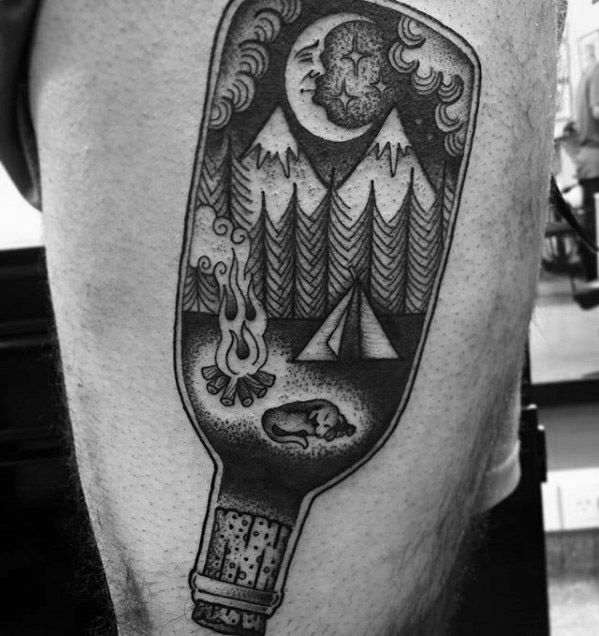 Popular Camping Tattoos On Thigh for Tattoo fans