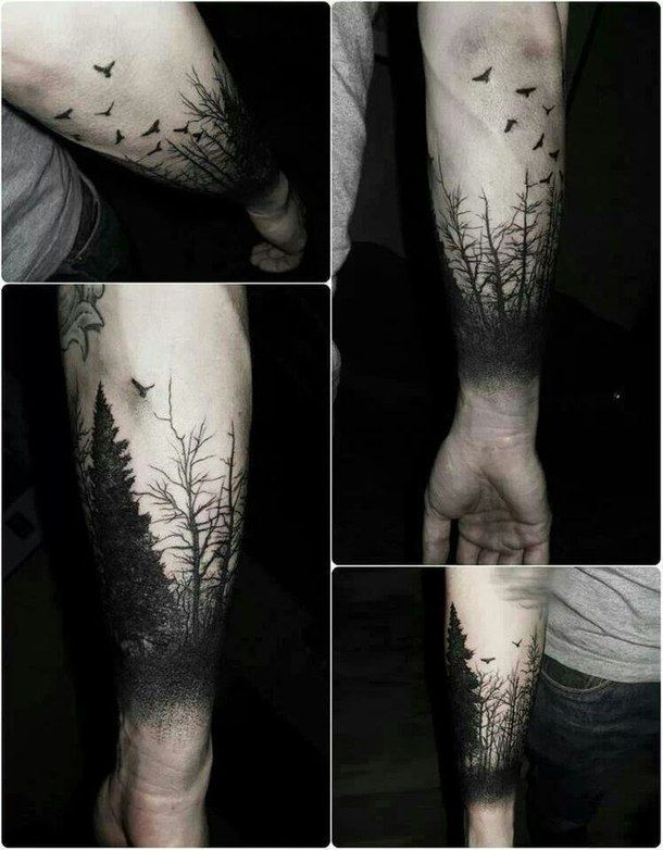 Realistic Forest Tattoos On arm for girl