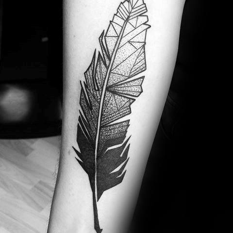 Sensation Geometric Feather Tattoo On arm for girl