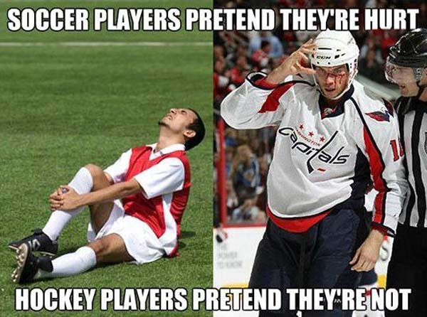 Soccer players pretend they're hurt hockey Sports Meme