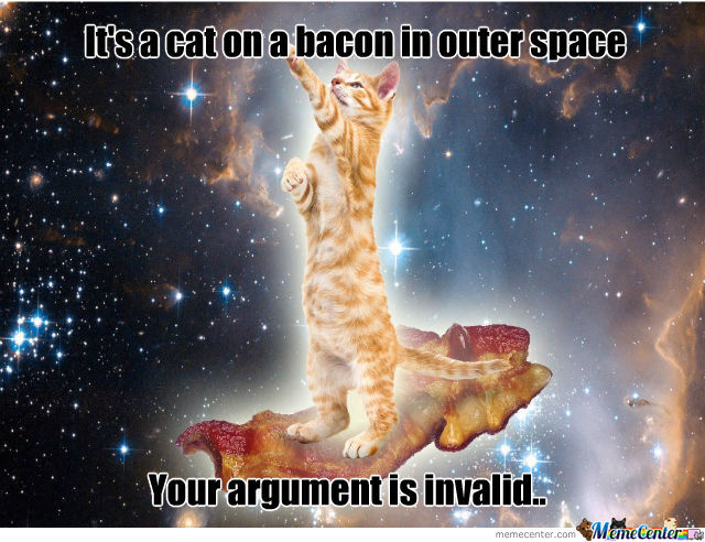 Space Memes Its a cat on a bacon in outer space