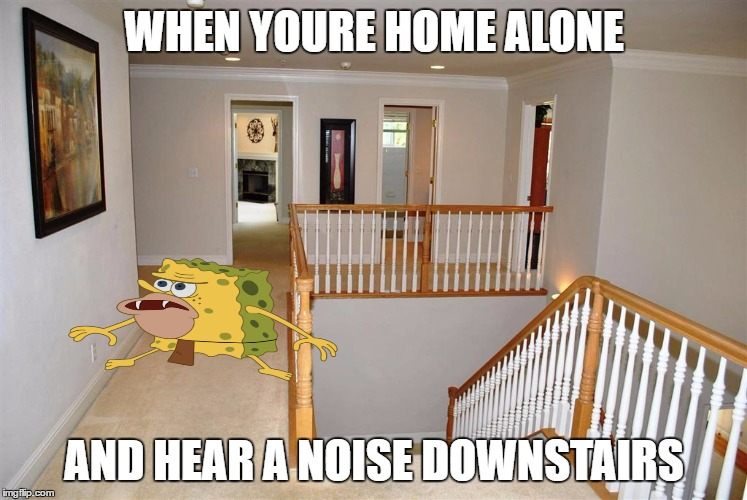 Spongegar Meme When you're home alone and hear a noise