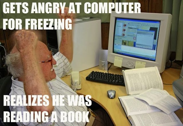 Technology Meme Gets angry at computer for freezing