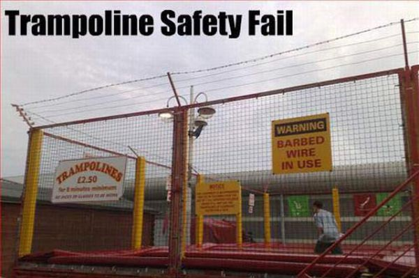 Trampoline safety fail Safety Meme