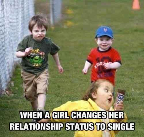 When a girl changer her relationship status to single Relationship Meme
