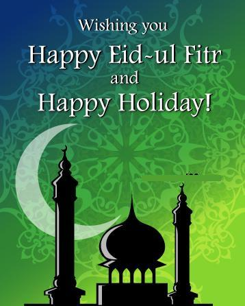 Beautiful Happy Eid al-Fitr Wishes and Greetings Message Card Image