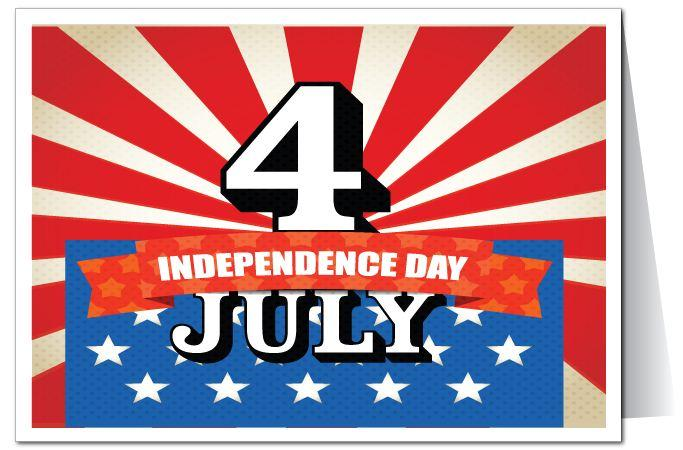 Happy 4th July Best Wishes Greetings Card Image