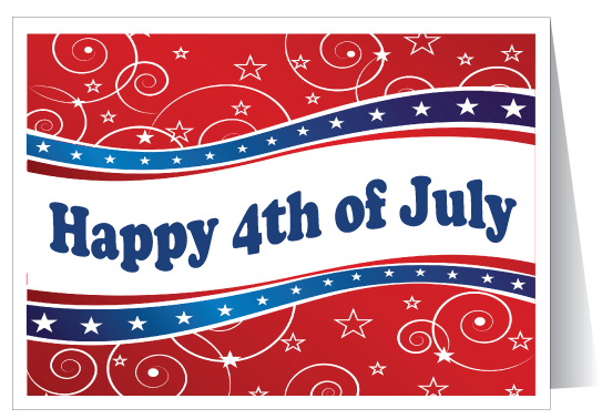 Wonderful Red Color 4th Of July Greetings Card Picture