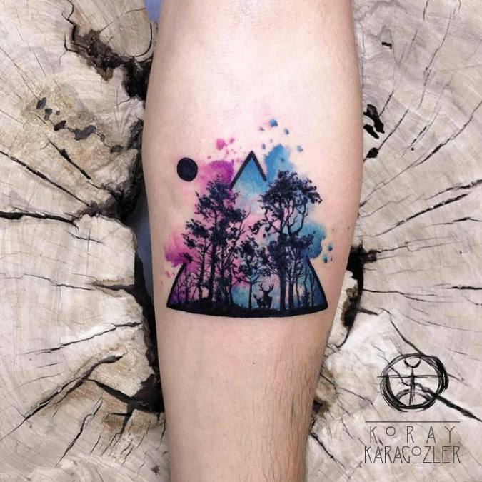 Exceptional Watercolor Forest Tattoo By Koray Karagozler Picsmine